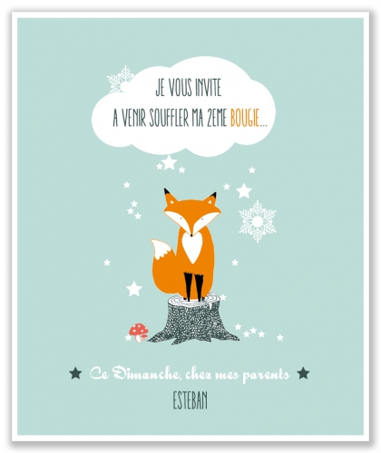 carte, anniversaire, invitation, renard, illustration, enfant
