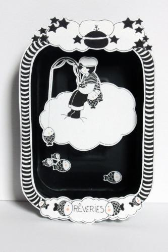 boite, rêve, théâtre, papier, découpé, dessin, illustration, noir, blanc, enfant, nuages, pêcheur, poisson