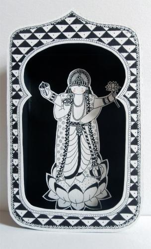 boite, rêve, théâtre, papier, découpé, dessin, illustration, noir, blanc, enfant, divinités, hindoues, vishnu