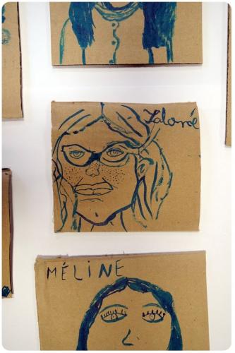 atelier, arts, plastiques, enfants, portrait, encre