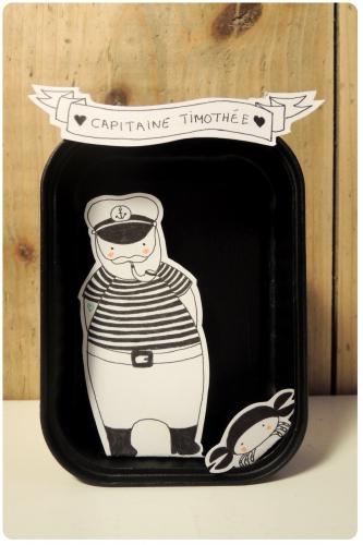 illustration, marin, crabe, noir,et,blanc, boîte, dessin, cadeau, naissance, enfants