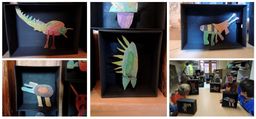 atelier, arts, plastiques, enfants, bestiaire, animaux, imaginaires, boite, périscolaire