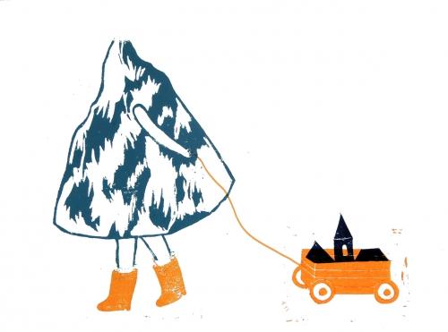linogravure, montagne, jambes, bottes, marche, charette, jouets, maisons, toit,