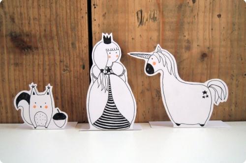 illustration, dessin, licorne, princesse, écureuil, forêt, enchantée