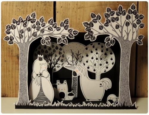 illustration,noir,blanc,princesse,licorne,écureuil,forêt,arbre,oiseau,boîte,petit,théâtre