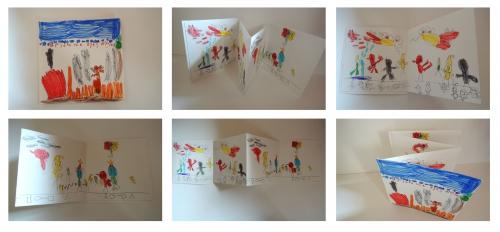 livre, accordéon, dessin, atelier, arts, plastiques, enfants, invente, histoire