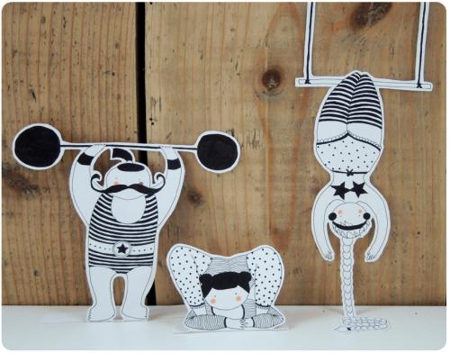 illustration, noir, blanc, cirque, contorsionniste, trapeziste,