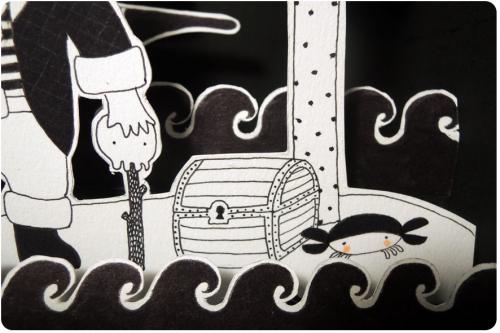 illustration, pirate, sirène, papier, découper, boite, théâtre