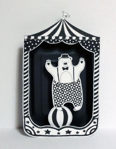 ours,cirque,illustration,papier,boîte,découpé,noir,blanc