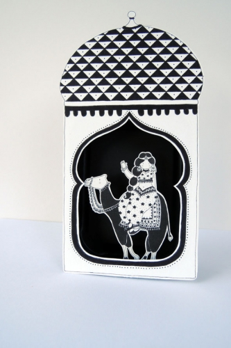 jasmine, jasmina, illustration, papier, découpé, noir, blanc, conte, mille, nuit, boîte, théâtre