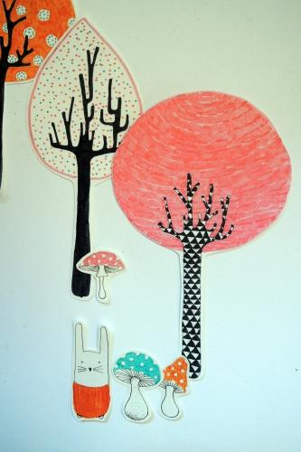 la, forêt, enchantée, illustration, lutin, fée, arbres, lapin, champignons