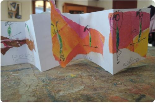 atelier, arts, plastiques, enfants, collage, livre, papiers