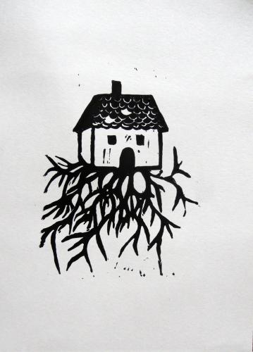 linogravure,maison,racines