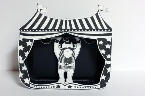 haltérophile,cirque,illustration,papier,boîte,découpé,noir,blanc