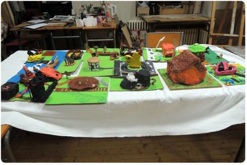 atelier,arts,plastiques,enfants,argile,modelage,ville,imaginaire