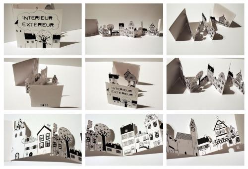 livre, accordéon, illustration, maisons