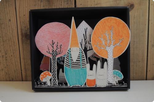 fôret, enchantée, boîte, lutin, lapin, arbre, illustration