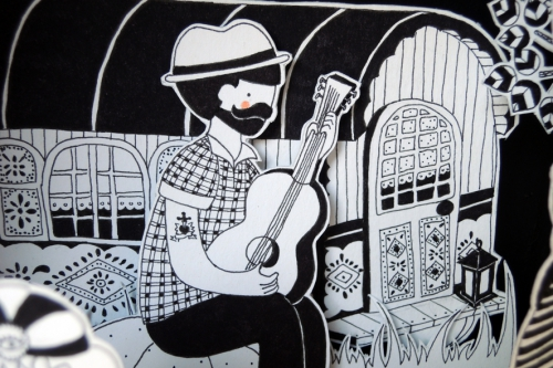 boite, rêve, nomades, voyante, esmeralda, roulotte, gitans, illustration, noir, blanc
