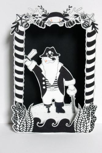 boite, rêve, théâtre, papier, découpé, dessin, illustration, noir, blanc, enfant, forêt, pirate