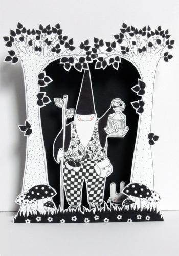 boite, rêve, théâtre, papier, découpé, dessin, illustration, noir, blanc, enfant, forêt,enchantée, lutin