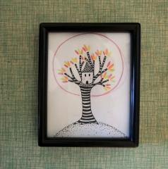 dessin,illustration,arbre,cabane
