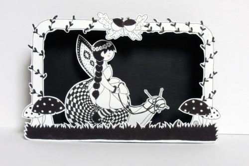 boite, rêve, théâtre, papier, découpé, dessin, illustration, noir, blanc, enfant, forêt, enchantée, fée
