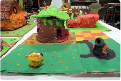 atelier, arts, plastiques, enfants, argile, modelage, ville, imaginaire