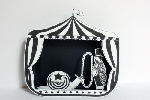 dompteur, escargot,cirque,illustration,papier,boîte,découpé,noir,blanc