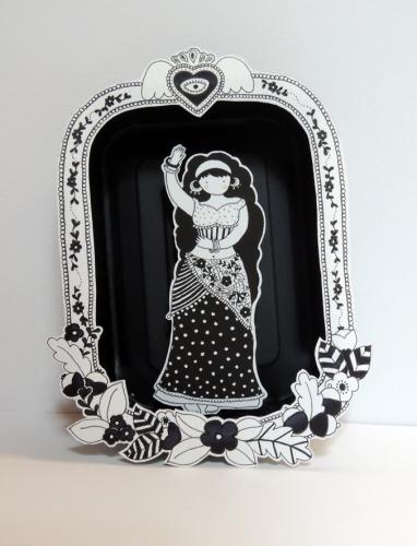 esmeralda, illustration, noir, blanc, papier, boite, théâtre, nomades