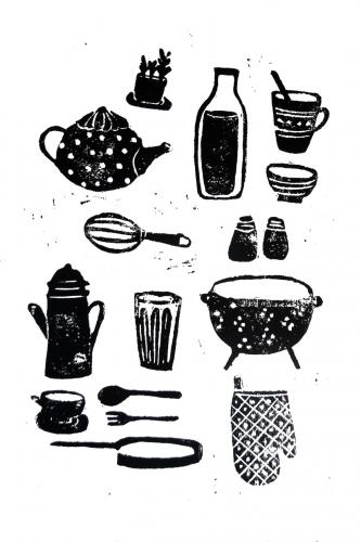linogravure, cuisine