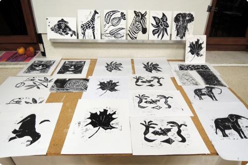 atelier, arts, palstiques, linogravure, adultes, MJC, animal, végétal