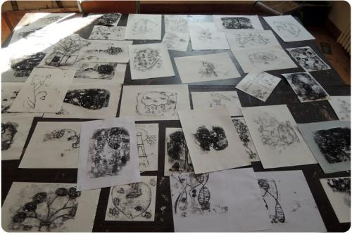 atelier, arts, plastiques, enfants, monotype