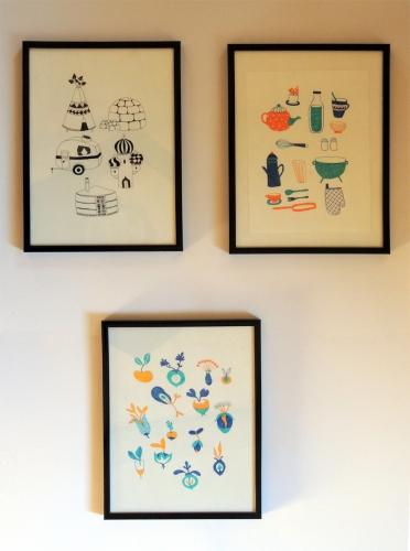 illustrations, maisons, graines, cuisine, ustensiles