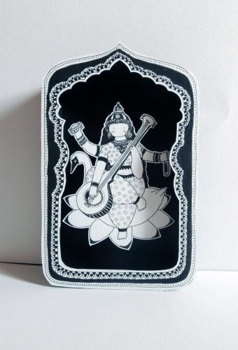 boite, rêve, théâtre, papier, découpé, dessin, illustration, noir, blanc, enfant, divinités, hindoues, sarasvati