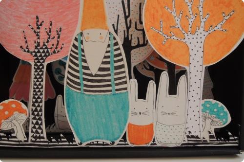 fôret,enchantée,boîte,lutin,lapin,arbre,illustration