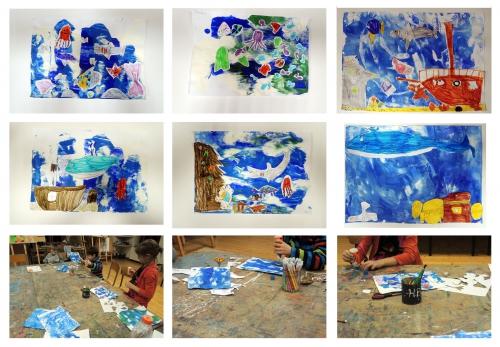atelier, arts, plastiques, enfants, aquarium, papier, peinture, poissons, collage