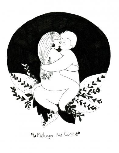 melanger, corps, illustration, dessin, noir, blanc, amoureux