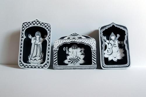 boite, rêve, théâtre, papier, découpé, dessin, illustration, noir, blanc, enfant, divinités, hindoues