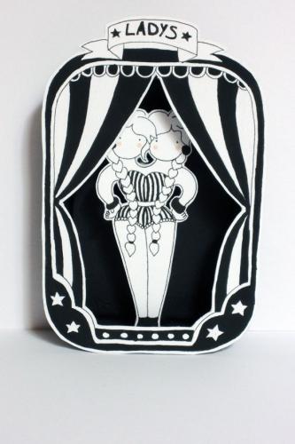 ladys,cirque,illustration,papier,boîte,découpé,noir,blan