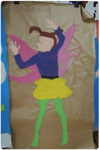 atelier, arts, plastiques, enfants, peinture, silhouettes, auto-portrait, artistique