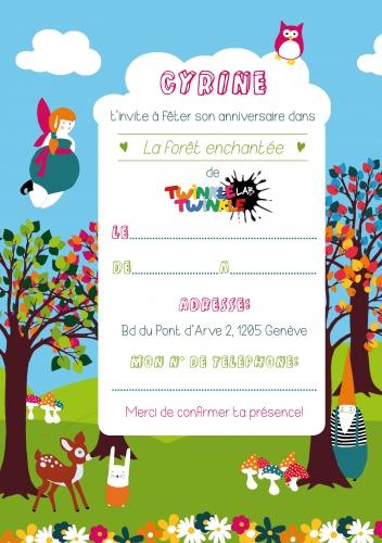 invitation, anniversaire, forêt, enchantée, enfant, carte,