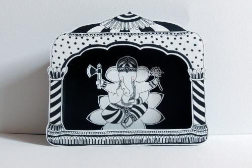 boite, rêve, théâtre, papier, découpé, dessin, illustration, noir, blanc, enfant, divinités, hindoues, ganesh