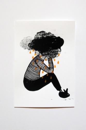 linogravure, noir, blanc, pluie, larme, or, garçon, nuage, tête